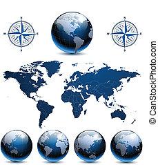 Erdkugeln mit Weltkarte