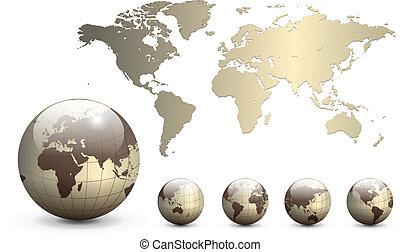 Erdkugeln und Karte der Welt