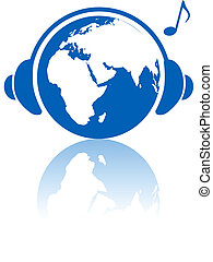 Erdmusik-Welt-Kopfhörer auf dem Planeten der östlichen Hemisphäre