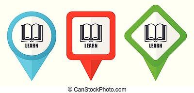 Erfahren Sie rote, blaue und grüne Vektorzeiger Icons. Farbige Positionsmarker, isoliert auf weißem Hintergrund leicht zu bearbeiten