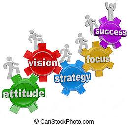 erfolg, leute, aufgehen, vision, strategie, zahnräder, erreichen