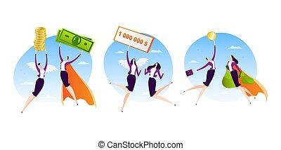 erfolgreich, design, illustration., vektor, geschäftsperson, held, karikatur, zeichen, leute, satz, manager, superwoman, fliegendes, währung, geld, arbeit