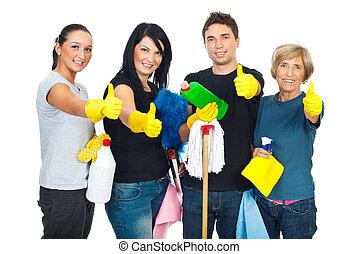 Erfolgreiche Reinigung von Leuten Teamwork.
