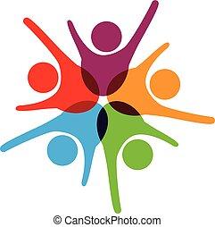 Erfolgreiches Teamwork Logo.