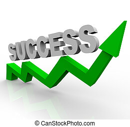 Erfolgsmeldung über grünen Wachstumspfeil