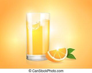 Erfrischen des orangenen Hintergrunds mit Glas und Scheibe von Zitrusvektor.