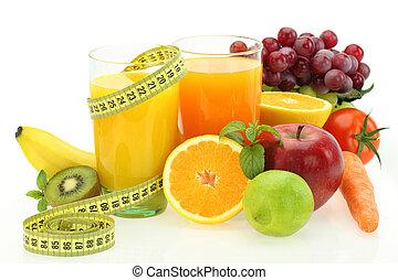 Ernährung und Ernährung. Frisches Obst, Gemüse und Saft