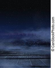 Erstaunlicher Blick auf die Stadt in der Nacht