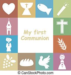 Erste Einladungskarte für die Kommunion.