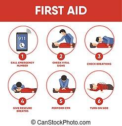 Erste Hilfe Instruktionen infographics und Vektor Ikonen der Medizin
