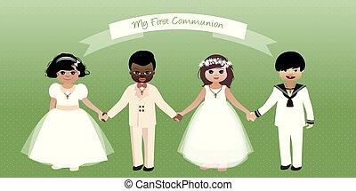 Erste Kommunion. Jungs und Mädchen, die Händchen halten