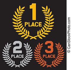 Erster Platz, zweiter Platz und dritter