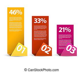 Erstes zweites Drittel - Vektorpapier infografische Elemente