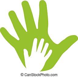 Erwachsene und Kinderhände, Familien-Ikone.