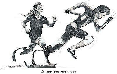 erwerbsunfähigkeit, -, rennender , physisch, athleten, sprint
