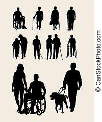erwerbsunfähigkeit, senioren, silhouette
