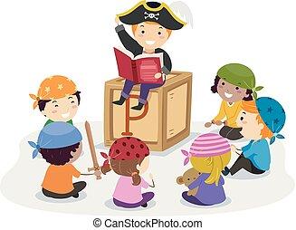 erzählen geschichte, kinder, stickman, abbildung, piraten