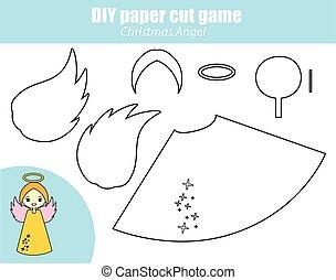 erzieherisch, figur, engelchen, game., machen, kinder, kreativ, jahr, schneiden, papier, neu , activity., klebstoff, weihnachten, diy