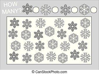 Erziehung für Kinder. Zählen Sie, wie viele Schneeflocken und Farbe Seite. Vector Illustration.