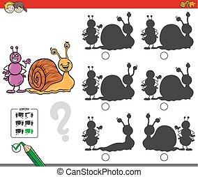 Erziehungsschattenspiel mit Ameisen und Schnecke.