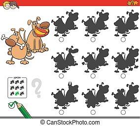 Erziehungsschattenspiel mit Hundecharakteren.