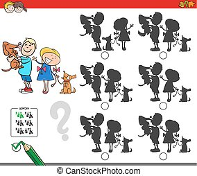 Erziehungsschattenspiel mit Kindern und Hunden.