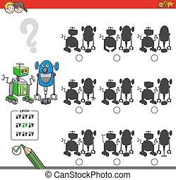 Erziehungsschattenspiel mit Robotern.