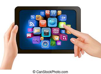 es ist, schirm, icons., hand, pc, berühren, vektor, polster, finger, besitz, berühren