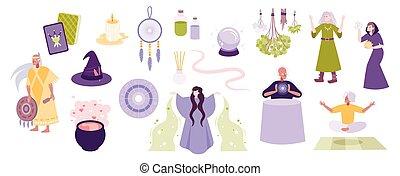 esoterisch, magisches, mystiker, satz
