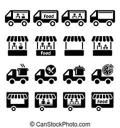 Essenswagen, Ikonen vom Lebensmittelstand.