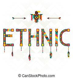 Ethnic. Designwort mit Ornament.
