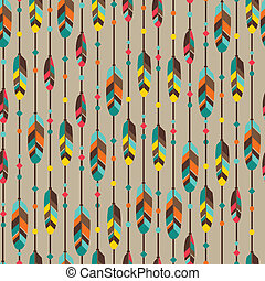 Ethnisch nahtlose Muster in nativem Stil mit Federn.
