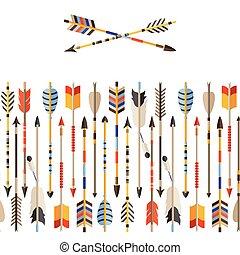 Ethnisch nahtloses Muster mit indischen Pfeilen im nativen Stil.