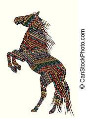 Ethnische Motive, gemustertes Pferd.