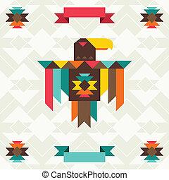Ethnischer Hintergrund mit Adler in navajo Design.