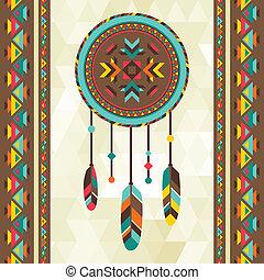 Ethnischer Hintergrund mit Dreamcatcher in navajo Design.