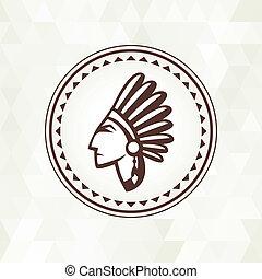 Ethnischer Hintergrund mit indianischem Profil in navajo Design.