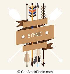 Ethnischer Hintergrund mit indischen Pfeilen im nativen Stil.