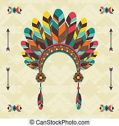 Ethnischer Hintergrund mit Kopfband in navajo Design.
