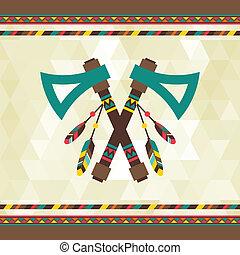 Ethnischer Hintergrund mit Tomahawk in navajo Design.