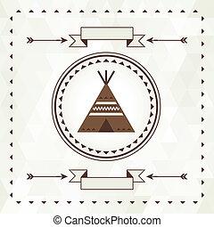 Ethnischer Hintergrund mit Wigwam in navajo Design.