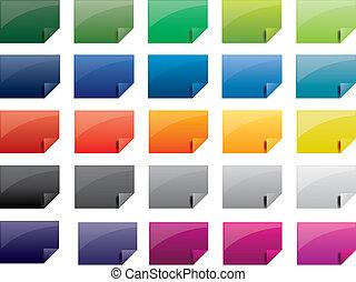 etikett, gefärbt