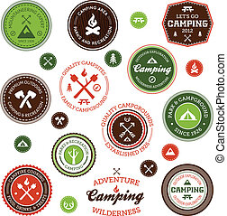 etiketten, camping