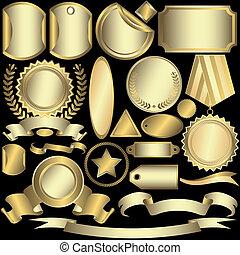 etiketten, goldenes, (vector), satz, silbrig