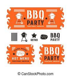 etiketten, grillfest, banner, satz