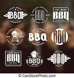 etiketten, grillfest, embleme, satz