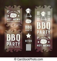 etiketten, grillfest, satz, flieger