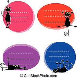 Etiketten mit süßen schwarzen Katzen.