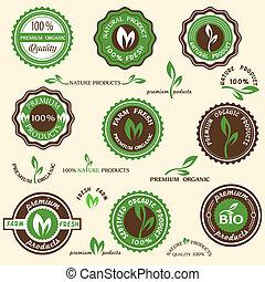 etiketten, organische , sammlung, heiligenbilder