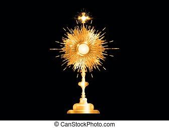 eucharistic, sakrament, gold, freigestellt, schwarz, host., angezeigt, zeremonie, traditions., anglikanisch, altes , monstranz, katholik, segnung, römisches , vektor, ostensorium, gesegnet, gebraucht